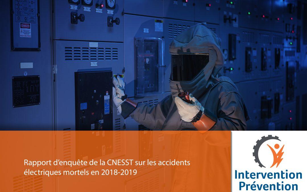 Rapport d'enquête de la CNESST sur les accidents électriques mortels en 2018-2019
